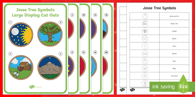 Jesse Tree Symbols Large Display Cut-Out Pack-Irish