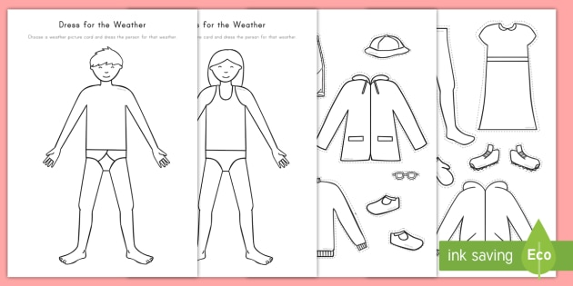 dress for the weather worksheet worksheet weather dress up dolls. Black Bedroom Furniture Sets. Home Design Ideas