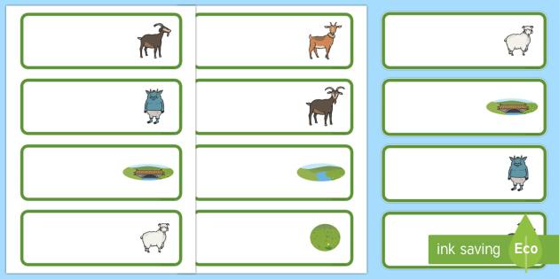 The Three Billy Goats Gruff editable Drawer, Peg, Name Labels - Editable Label Templates, Three Billy Goats Gruff, Resource Labels, Name Labels, Editable Labels, Drawer Labels, Coat Peg Labels, Peg Label, KS1 Labels, Foundation Labels, Foundation Sta