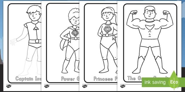 Superhero Themed Coloring Worksheet / Activity Sheets - superhero, color