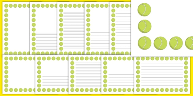 The Olympics Tennis Page Borders - Tennis, Olympics, Olympic Games, sports, Olympic, London, 2012, page border, border, writing template, writing aid, writing, activity, Olympic torch, events, flag, countries, medal, Olympic Rings, mascots, flame, co