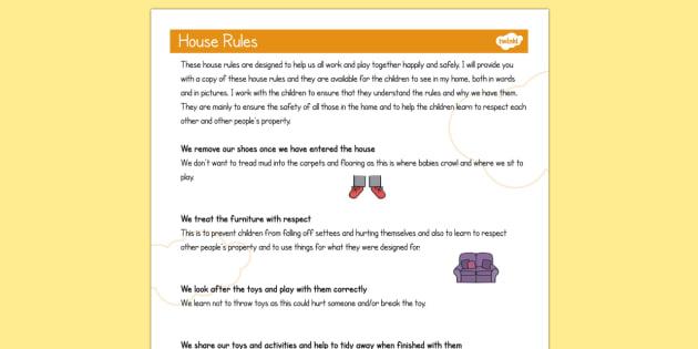 Childminder House Rules - Child, Minder, House, Rules, Babysit