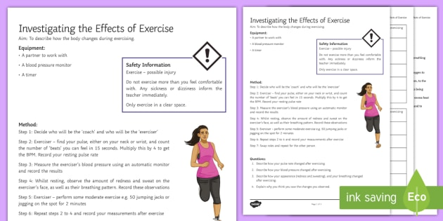 Effects of Exercise Investigation Instruction Sheet Print-Out - Investigation Help Sheet, science practical, method, instructions, exercise, health, healthy lifesty