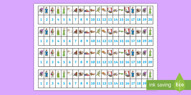 Sleeping Beauty Number Track 0 20 - sleeping beauty, number track, numberline, number line, number strip, counting on, counting back, counting, maths aid