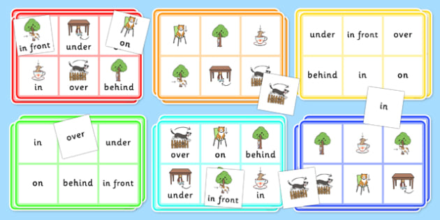 Preposition Bingo - positions, SEN, SEN games, games, visual