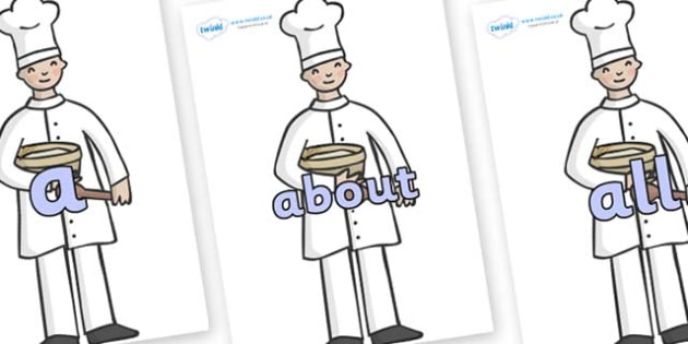 100 High Frequency Words on Bakers - High frequency words, hfw, DfES Letters and Sounds, Letters and Sounds, display words
