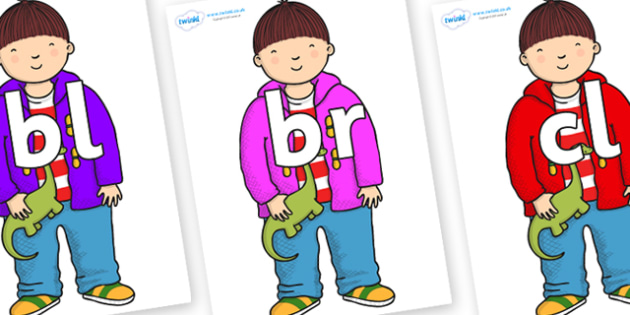Initial Letter Blends on Harry to Support Teaching on Harry and the Bucketful of Dinosaurs - Initial Letters, initial letter, letter blend, letter blends, consonant, consonants, digraph, trigraph, literacy, alphabet, letters, foundation stage literac