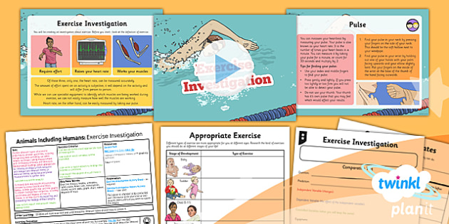 Science: Animals Including Humans: Exercise Investigation Year 6 Lesson Pack 5