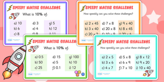 Speedy Maths Challenge Cards - maths, numeracy, maths games
