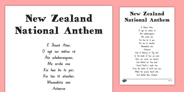 New Zealand National Anthem Sheet - nz, new zealand, national anthem, sheet