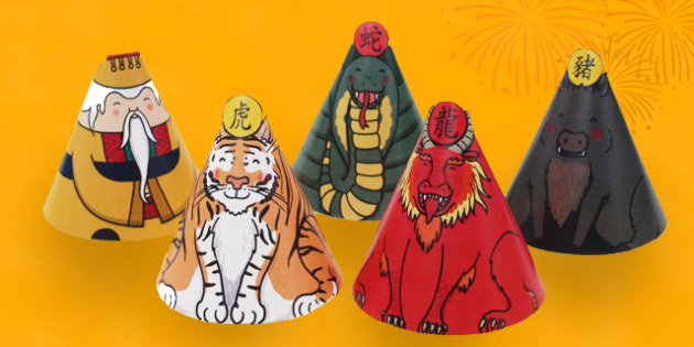 Chinese New Year Cone Characters - chinese new year, cone, paper