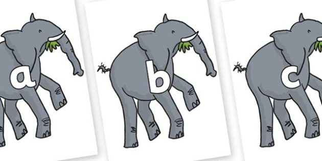 Phase 2 Phonemes on Trunky The Elephant to Support Teaching on The Enormous Crocodile - Phonemes, phoneme, Phase 2, Phase two, Foundation, Literacy, Letters and Sounds, DfES, display