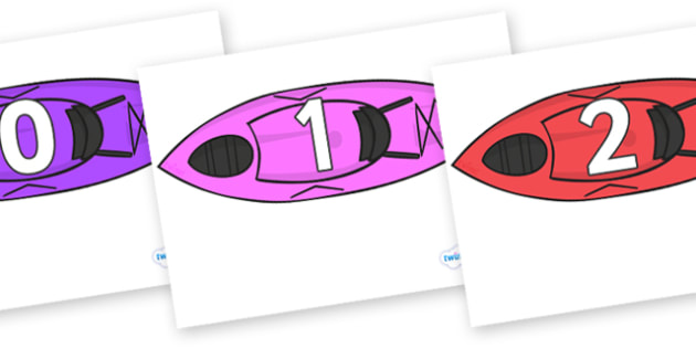 Numbers 0-50 on Kayaks - 0-50, foundation stage numeracy, Number recognition, Number flashcards, counting, number frieze, Display numbers, number posters