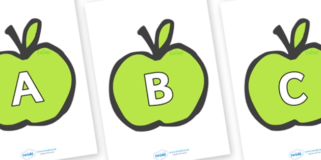 A-Z Alphabet on Apples - A-Z, A4, display, Alphabet frieze, Display letters, Letter posters, A-Z letters, Alphabet flashcards