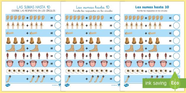 Ficha de actividad: Las sumas hasta 10 - Mi cuerpo - Mi cuerpo, proyecto, conocimiento de mí mismo, matemáticas, sumar, operaciones,Spanish