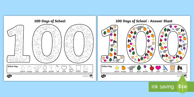100 Days Of School '100' Coloring Page (teacher Made)