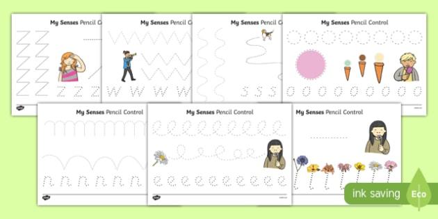 My Senses Pencil Control Activity Sheet Pack, worksheet