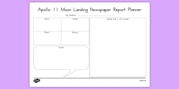 Apollo 11 Newspaper Report Planner - australia, apollo 11, newspaper, report