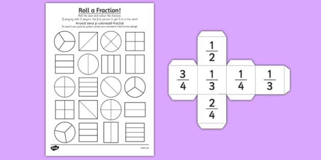 Year 2 Roll a Fraction Activity Sheet Romanian Translation - romanian, activities, fractions, worksheet