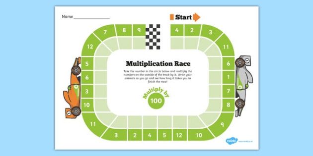 Multiply by 100 Race Activity - X 10 100 1000, multiply by 100, race, activity, multiplication