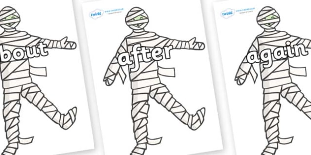 KS1 Keywords on Mummy (Plain) - KS1, CLL, Communication language and literacy, Display, Key words, high frequency words, foundation stage literacy, DfES Letters and Sounds, Letters and Sounds, spelling