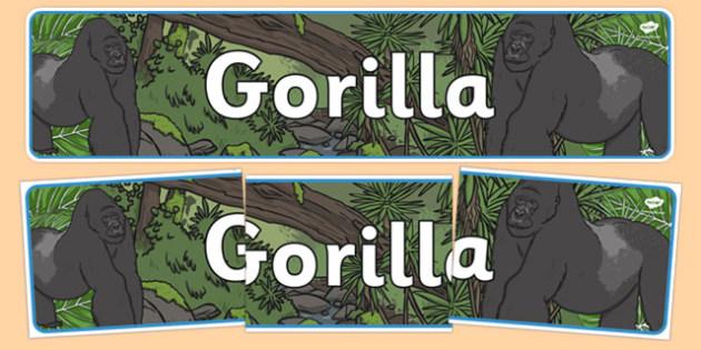 Gorilla Display Banner - goriallas, display, banner, jungle, animals, wild, wildlife, banner, sign, primates