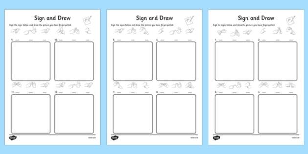 British Sign Language Alphabet Sign and Draw Worksheet - sign