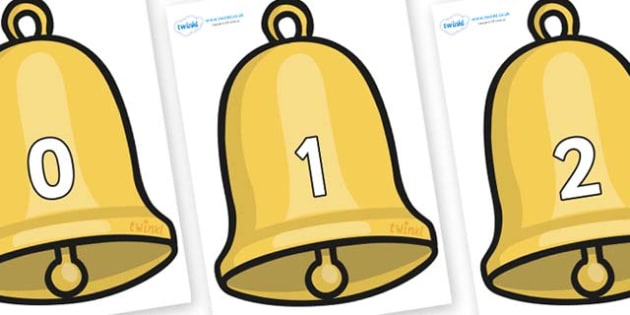 Numbers 0-31 on Christmas Bell - 0-31, foundation stage numeracy, Number recognition, Number flashcards, counting, number frieze, Display numbers, number posters