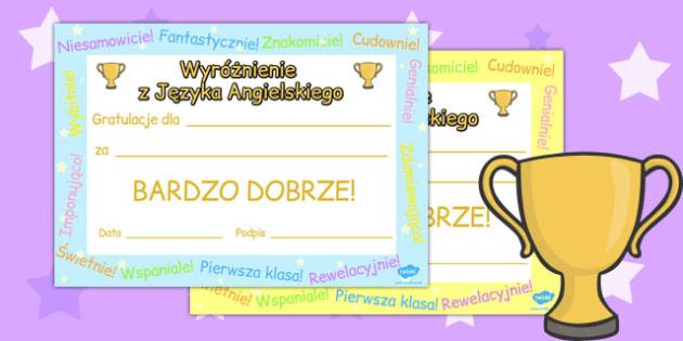 Certyfikat z jez. angielskiego po polsku - do pobrania , Polish