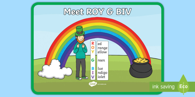 Rainbow Colours ROY G BIV Display Poster - light, rainbow colours, colours of the rainbow, rainbow poem, rainbows, colours of light, light colo