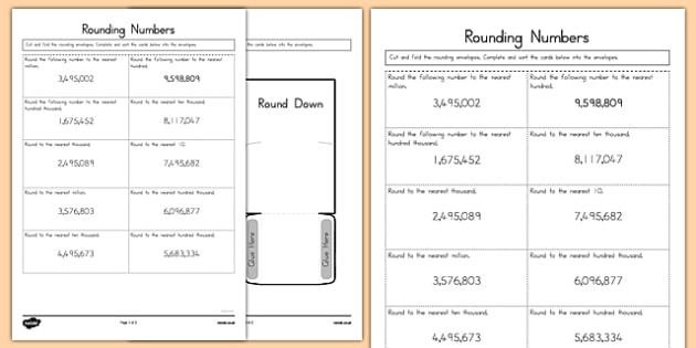 Rounding Numbers Sorting Activity - US Resources, Common Core, Rounding, Place Value, Number in Operations in Base Ten, NBT 3rd, 4th, 5th