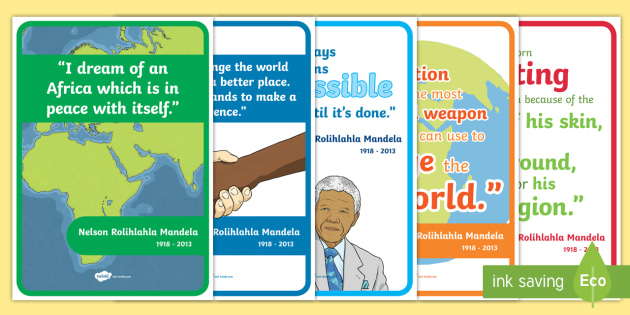 Nelson Mandela Simple Inspiring Quotes Display Posters Black History
