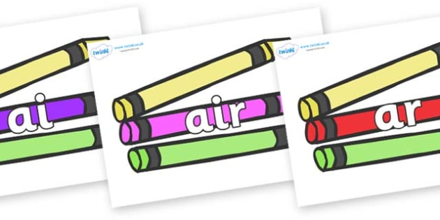 Phase 3 Phonemes on Crayons - Phonemes, phoneme, Phase 3, Phase three, Foundation, Literacy, Letters and Sounds, DfES, display