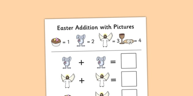 Easter Themed Addition with Pictures Activity Sheet Pack - easter, themed, addition, pictures, activity, sheets, worksheet