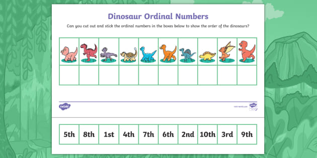 Hide-a-Saurus: Ordinal Numbers Cut and Stick Worksheet