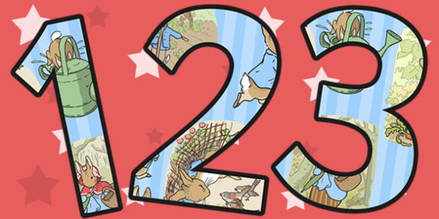 The Tale of Peter Rabbit Themed A4 Display Numbers - numbers