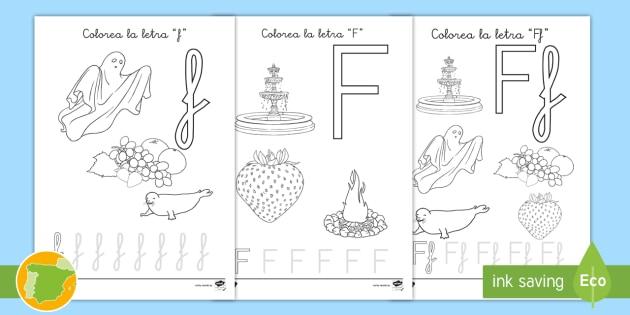 NEW * Hoja de colorear: La letra f - abecedario, fonemas