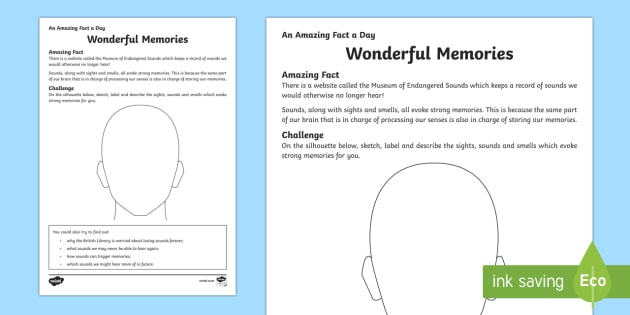 Wonderful Memories Activity Sheet - Amazing Fact Of The Day, activity sheets, powerpoint, starter, morning activity, December, memories,