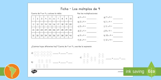 NEW * Ficha de actividad: Multiplicación por 4 - tablas de