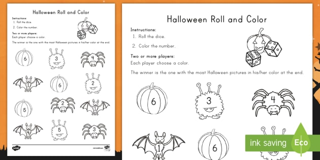 halloween roll and color activity sheet number recognition math pre k