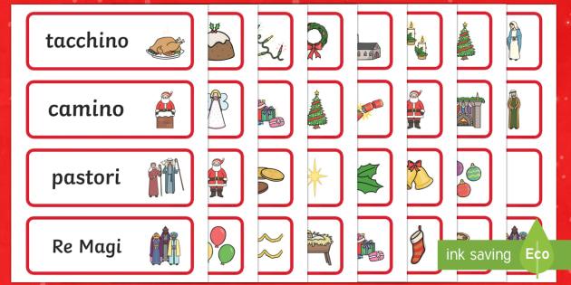 Natale Carte Parola Italian - carte parola, natale, babbo natale, feste, plastifica, buone feste, vocabolario, natalizio, stella c