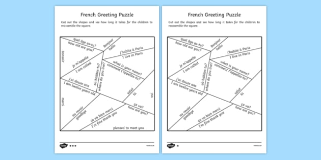 French Greetings Puzzle - france, languages, EAL, french words