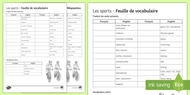 sports translation worksheet worksheet french ks3. Black Bedroom Furniture Sets. Home Design Ideas