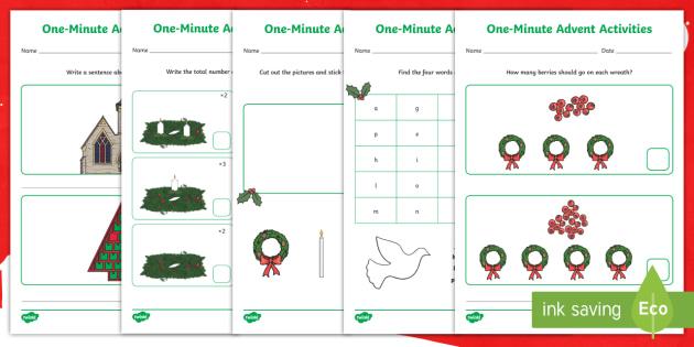 one minute advent worksheet worksheets christmas. Black Bedroom Furniture Sets. Home Design Ideas
