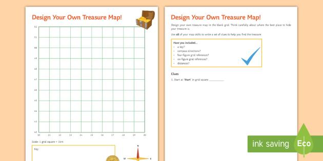 Design Your Own Treasure Map! Worksheet - Map skills, treasure map, on