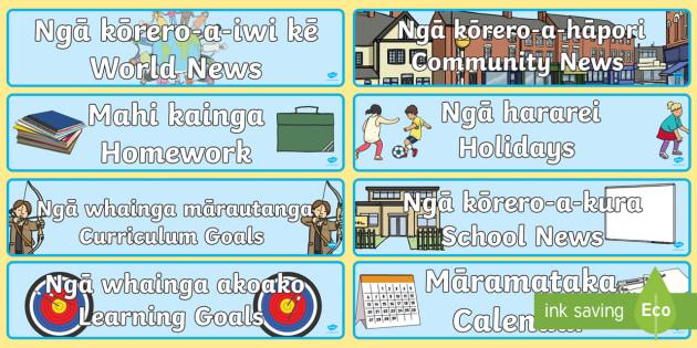 News Zone Display Banner Te Reo Maori/English - Māramataka, calendar, Hararei, holidays, huihui whakanui, celebrations, huarere, weather, hāpori,
