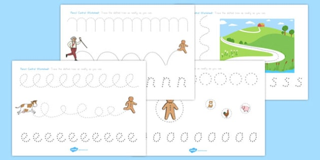 The Gingerbread Man Pencil Control Worksheets - australia, fine motor, writing, mark, making, pencil, control