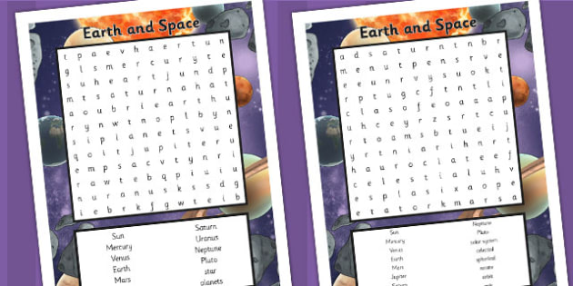 Year 5 Science Earth and Space Word Search - Space, Earth, Word