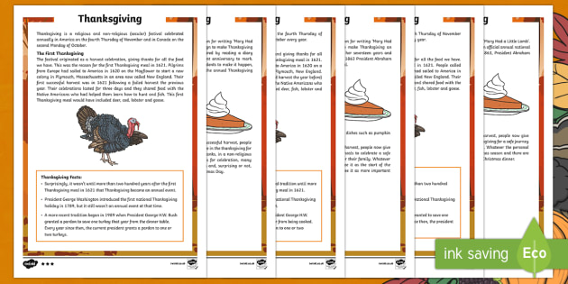 Thanksgiving KS2 Differentiated Fact File