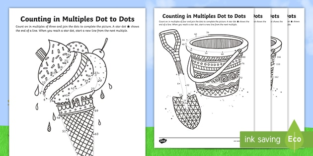 KS2 Summer Themed Counting In Multiples Dot To Dot Worksheets